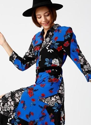 Random Uzun Kollu Desenli Midi Elbise Mavi